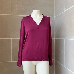 MaxMara Pure Silk V Neck Long Sleeve